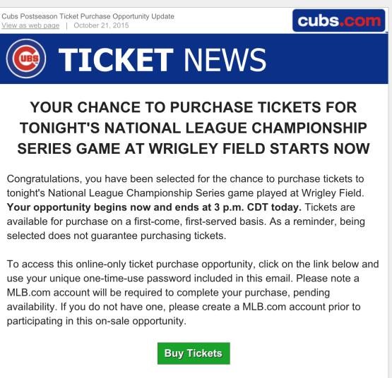 invitation to buy Cubs playoff tickets