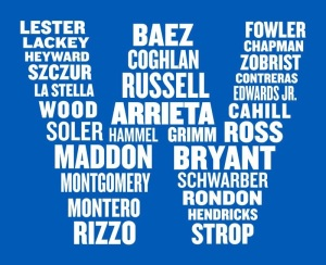 Letter W made out of Cubs players' names
