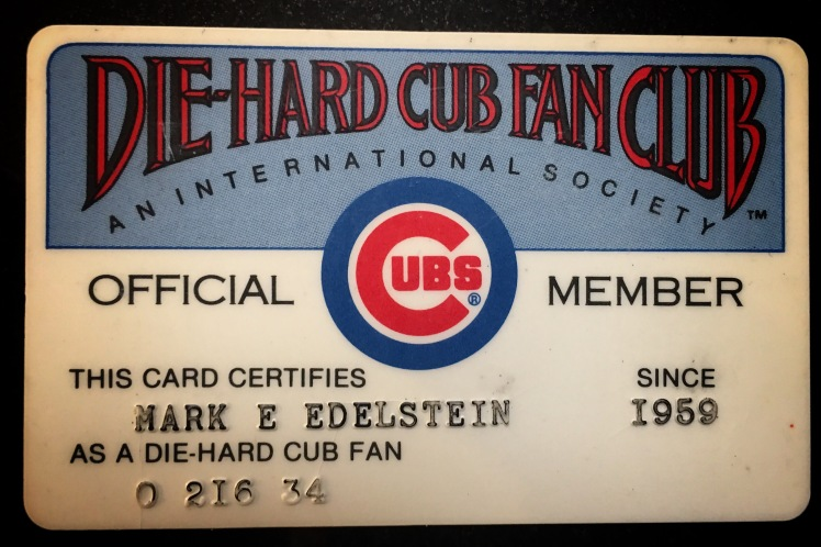 Diehard Cubs fan club card